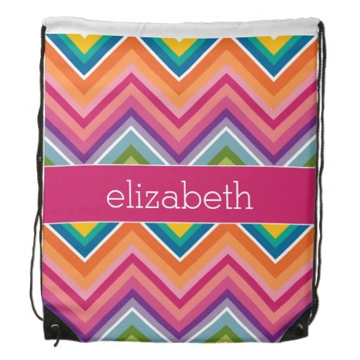 Customizable Huge Colorful Chevron Pattern String Backpack with Name