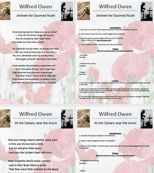 The poems of Owen can be approached as single texts in single lessons, or as an Owen study with theme and poetic devices being the focus, leading towards an essay response. This unit, while accommodating for both, is geared towards the latter. This pack contains several PPTs (almost 100 pages of PPTs) that relate to the 70 page PDF Owen Learning Guide that is included also.