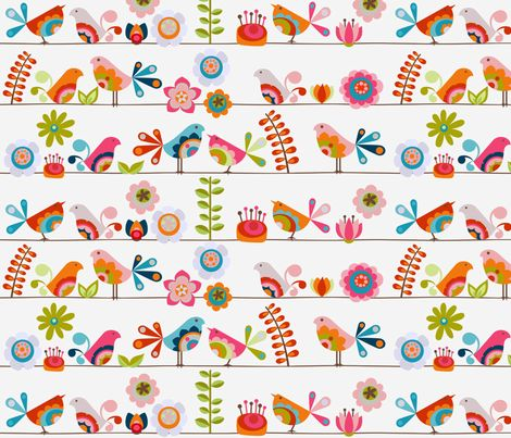 Little birds with flowers fabric by valentinaharper on Spoonflower - custom fabric