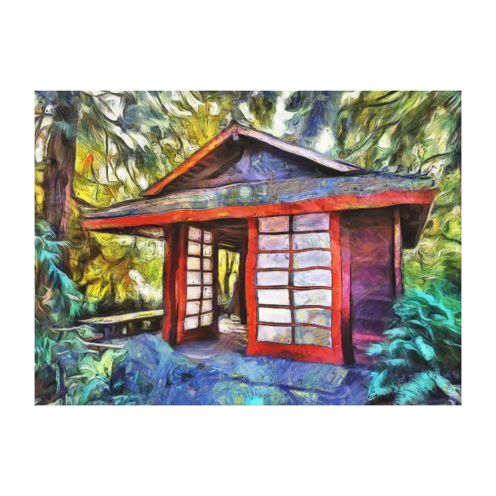 Japanese Tea House In The Forest Canvas Print Zazzle Com In 2020 Japanese Tea House Tea House Forest House