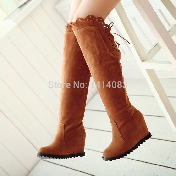South Korean style antumn or winter knee high boots lace up round toe nubuck leather high heel increased women riding boots