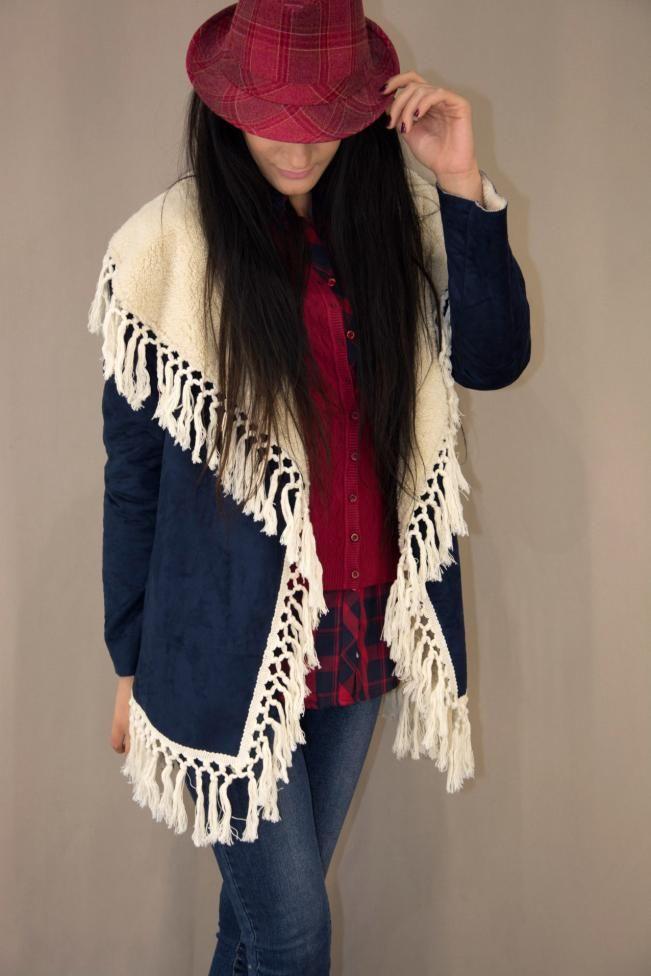 Γυναικείο μπουφάν με κρόσια  MPOU-1425-bl Μπουφάν - Πανωφόρια - Γυναίκα