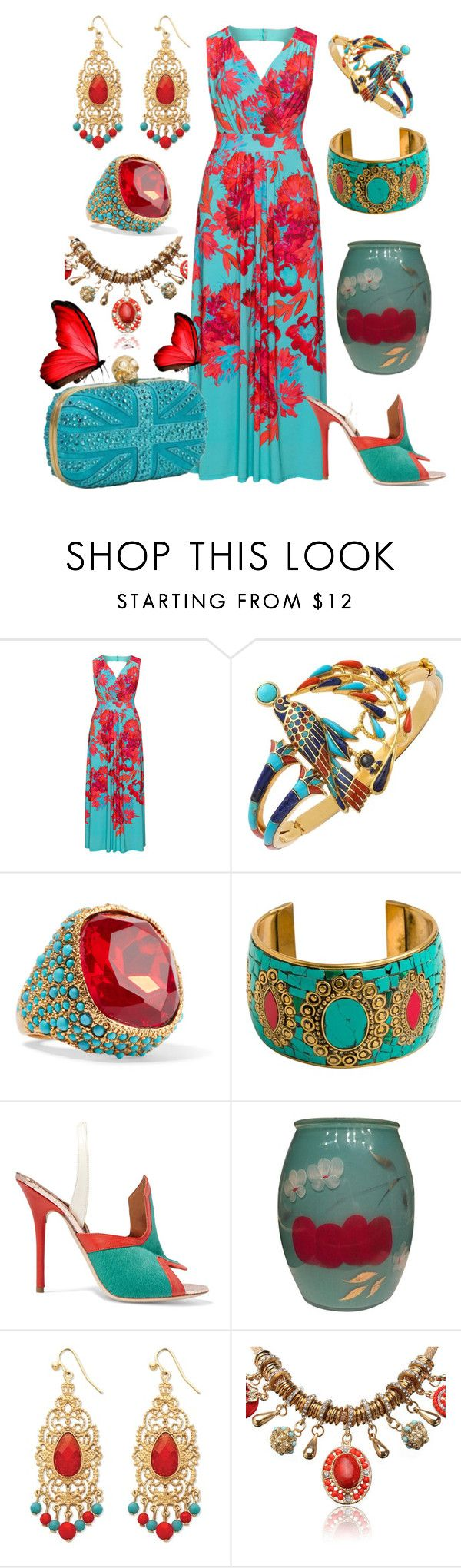 """In Vivid View"" by yournightnurse ❤ liked on Polyvore featuring navabi, Kenneth Jay Lane, Zad, Malone Souliers, Palm Beach Jewelry and Alexander McQueen"