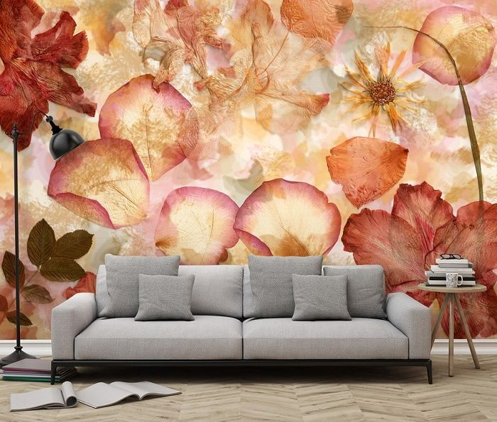 Non-woven Wallpaper - Dried Flowers. Easy to install and remove from the wall. Highest quality. Free shipping within UK. Living room and bedroom fine decor.