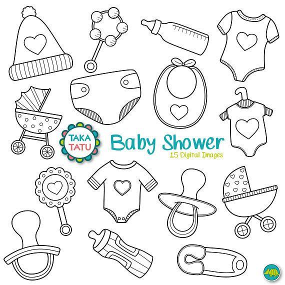 Baby Shower Digital Stamp Pack Black And White Clipart Etsy Baby Clip Art Digital Stamps Baby Mehndi Design