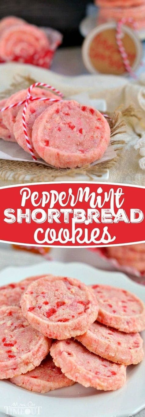 These festive Peppermint Shortbread Cookies are the perfect addition to your holiday cookie trays this year! With only five ingredients, they are quick and easy to make and look so gosh darn pretty! // Mom On Timeout #peppermint #cookies #shortbread #Christmas #cookie #recipes #recipe