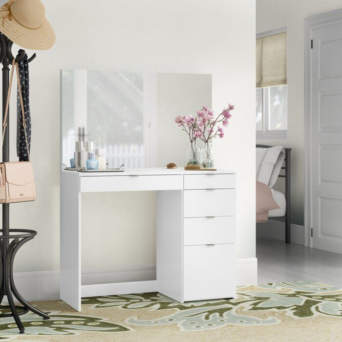 Corrado Vanity With Mirror In 2020 Bedroom Makeup Vanity Vanity Mirror Vanity Table Set