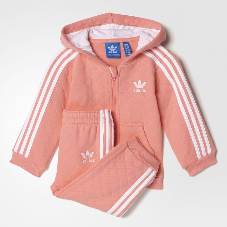 Adidas Infant's Quilted Hooded Pink Track Suit s95955 | Jet.com