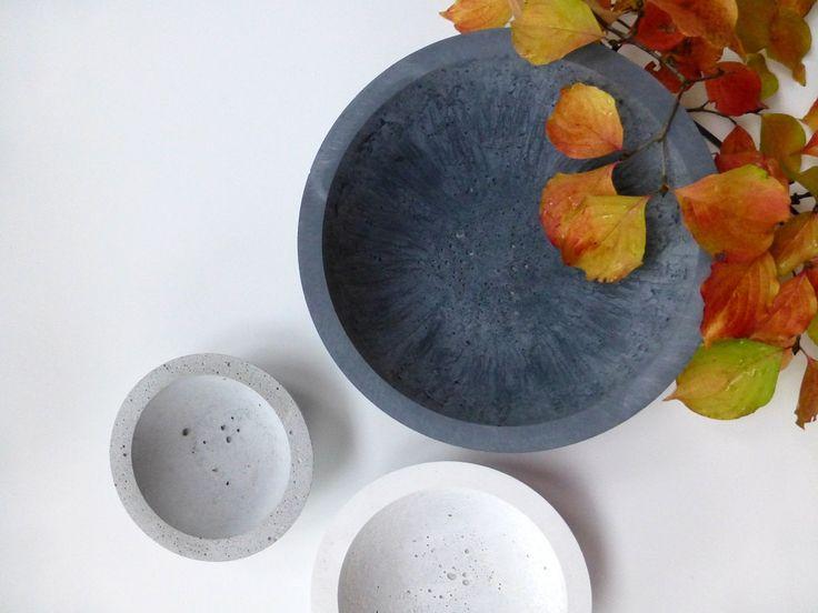 Concrete Bowls by ConcreteProject #etsy concrete cement modern industrial bowls custom decor home pots center piece fruit bowl wedding