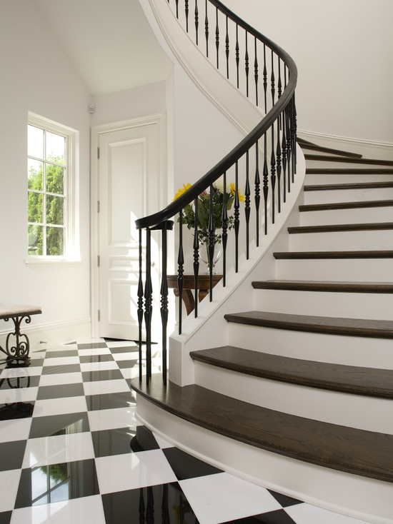 Black and white tile design and stairs stairs for Curved stair case