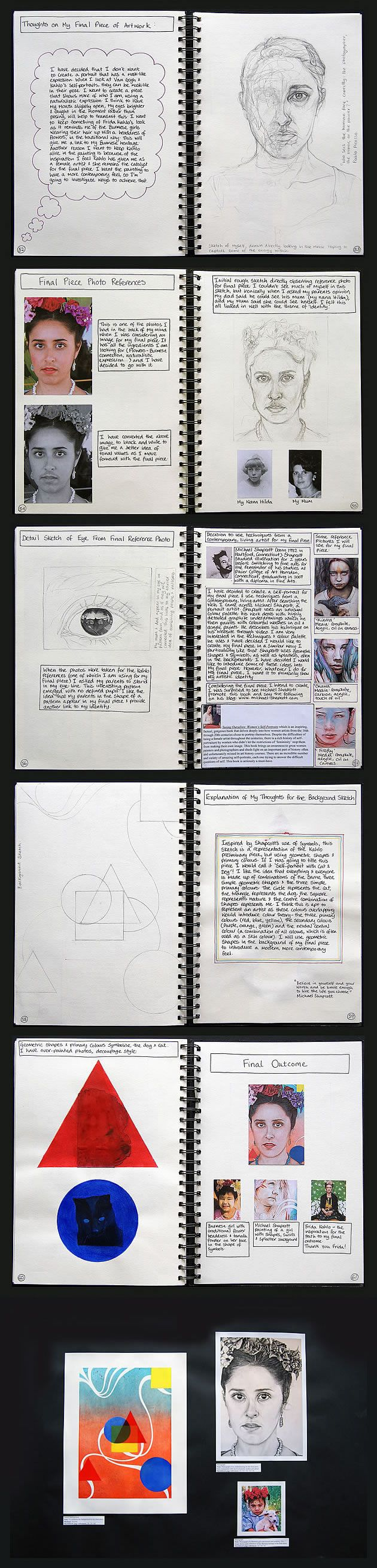 With meticulous organisation, Abby works towards her final piece. This sequence of sketchbook pages shows a self portrait that brings together ideas from her earlier work.