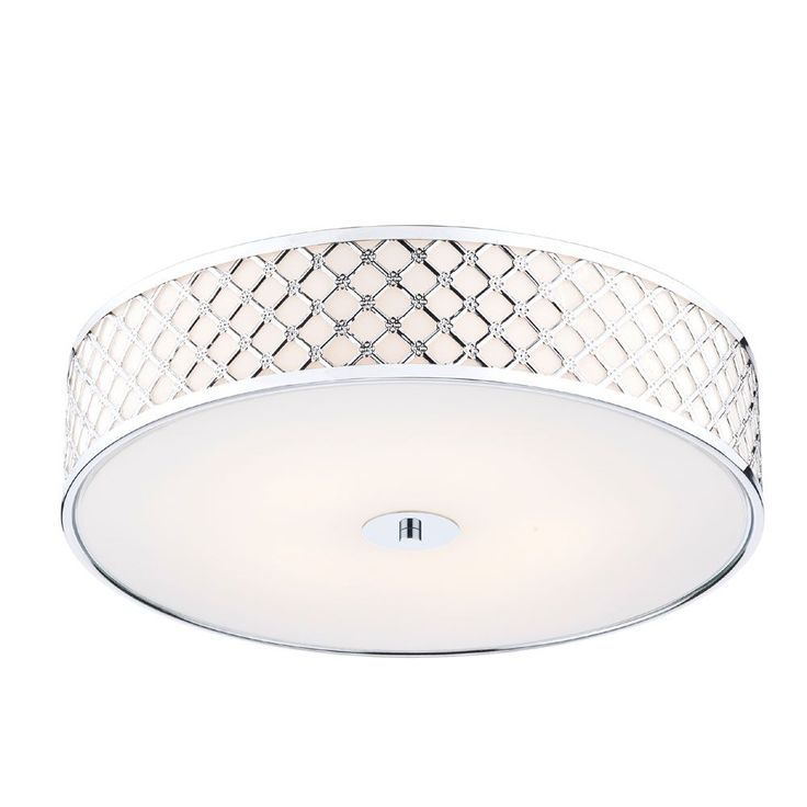 The Civic 2lt Flush Ceiling Light by Dar has a Metal Fretwork outer frame with an opaque glass diffuser which gives a unique modern feel and is finished with Polished Chrome