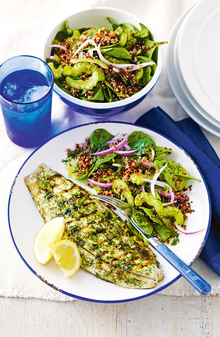 Grilled Lemon And Dill Fish With Red Quinoa Salad Recipe Red Quinoa Salad Sustainable Food Quinoa Salad