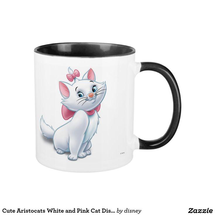 Gato blanco y rosado Disney de Aristocats lindo. Regalos, Gifts. #taza #mug