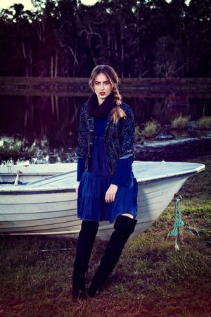 Minx Dress Block Navy / Luxor Jacket Flocked Black from Naudic's Autumn/Winter 2015 collection.
