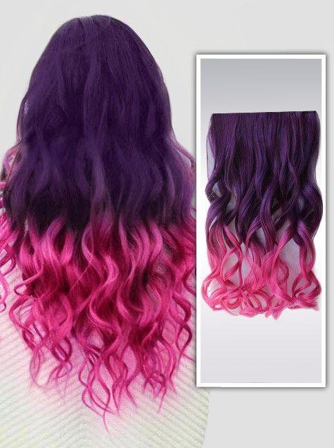 Violet et Rose extensions de cheveux colorés remy à clips C010
