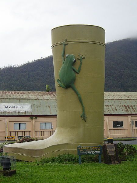 Size is 8 m × 6.1 m (26 ft × 20.0 ft).  The Golden Gumboot is located in Tully a small town in Queensland, Australia, adjacent to the Bruce Highway approximately 140 kilometres (87 mi) south of Cairns by road and 210 kilometres (130 mi) north of Townsville.