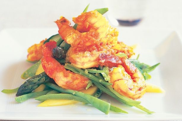 prawns and mango entree