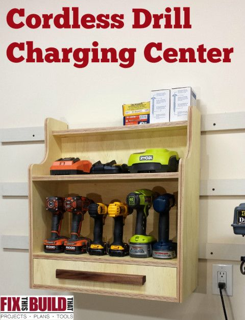 Cordless Drill Charging Center - Get FREE plans and a build walk through to make this great shop project. FixThisBuildThat.com