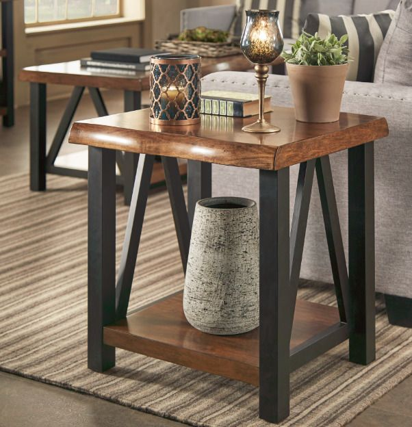 End Table And Coffee Table Set Industrial Wood Metal Storage