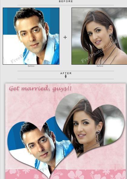 Valentine's Day card made from Salman & Katrina photos.  http://www.freephotoediting.com/samples/valentines-day/001-bollywood-couple-salman-and-katrina.htm