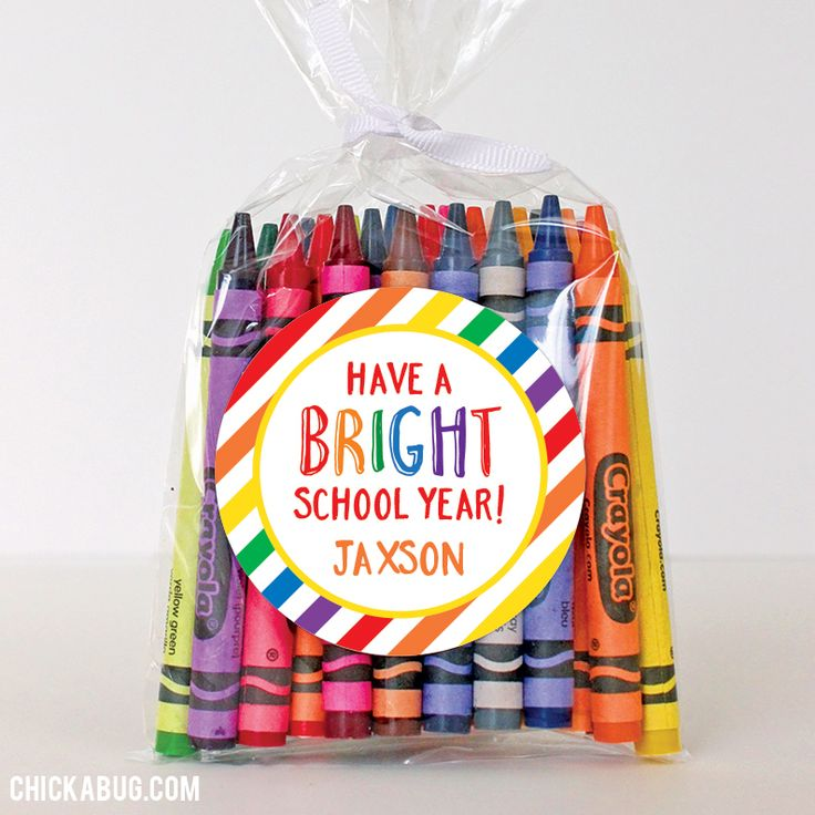 """Have a Bright School Year"" Back to School Stickers - Sheet of 12 or 24 - It just takes some crayons, a clear cello favor bag and these colorful stickers to make a sweet and simple first day favor!"
