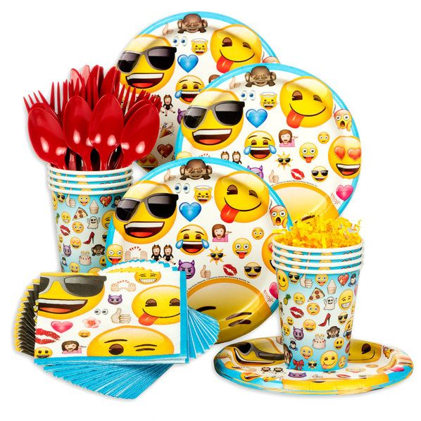 Emoji Party Supplies for all your party needs.  Make sure your child has the perfect emoji party with this all in one standard tableware kit which contains: Emoji 7 Cake Plates (8 Count) Emoji 9oz Cups (8 Count) Emoji Beverage Napkins (16 Count), and 8 Forks / 8 Spoons / 8 Knives