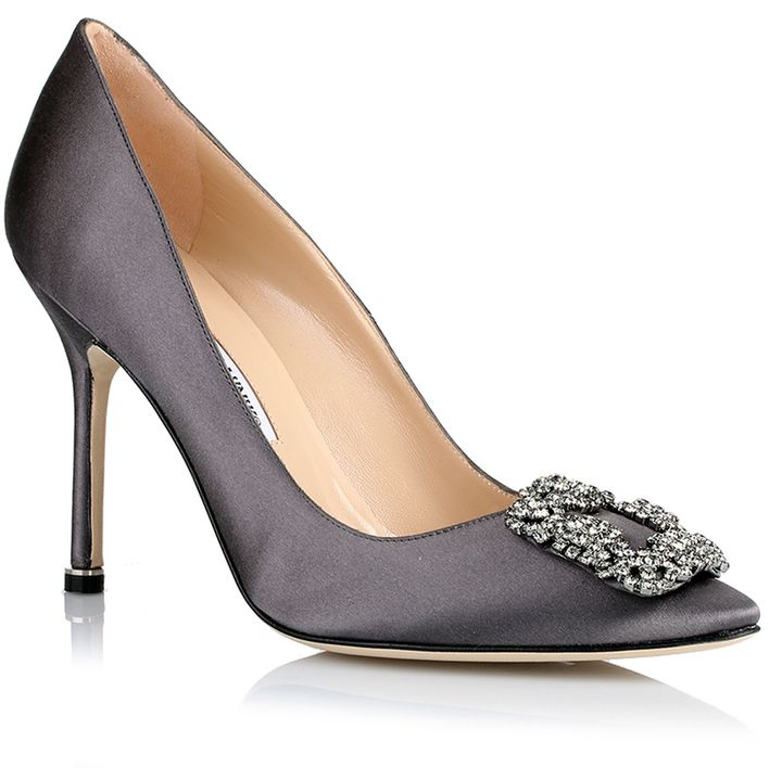 Manolo Blahnik Hangisi satin pump grey