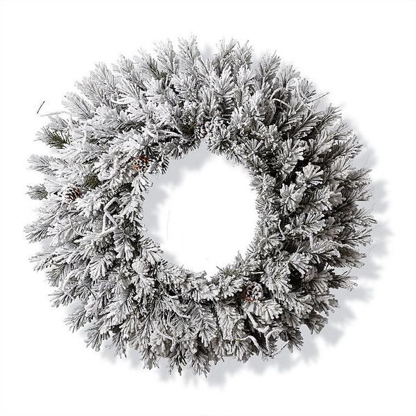 Flocked Norway Wreath ($299) ❤ liked on Polyvore featuring home, home decor, holiday decorations, outdoor holiday decorations, branch wreath, pre lit wreaths, outdoor wreaths and outdoor home decor