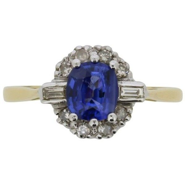 Preowned Vintage Sapphire And Diamond Cluster Ring, Circa 1966 ($2,341) ❤ liked on Polyvore featuring jewelry, rings, blue, engagement rings, diamond cluster engagement rings, sapphire band ring, vintage engagement rings and blue sapphire ring