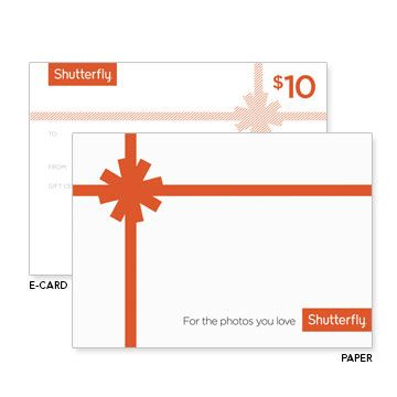 Give the gift of a shutterfly gift certificate to be used on prints, photo books, photo mugs, calendars, cards, and more.