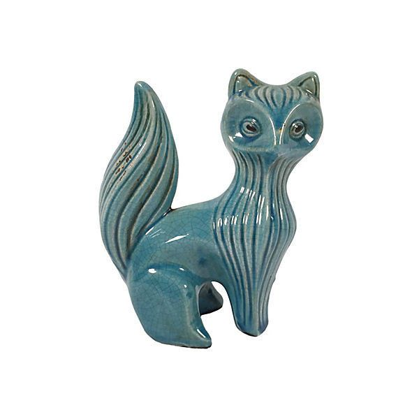 Pre-Owned Midcentury Crackle Glaze Fox ($129) ❤ liked on Polyvore featuring home, home decor, decorative accessories, ceramic home decor, mid century modern home decor, ceramic figurines and fox home decor