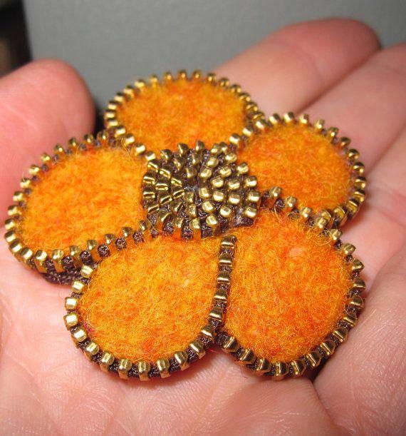 Zipper/Recycled Felted Wool Sweater Tangerine Orange Flower Pin/Brooch on Etsy, $18.00