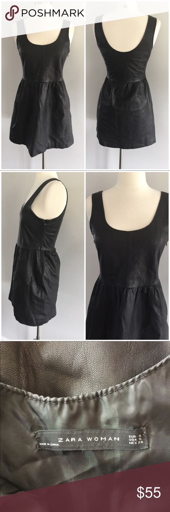 Zara woman leather black dress Sz small Cool but edgy babydoll fit leather dress Sleeveless Outershell: 100% lambs leather Lining: 100% polyester  Zips on the side  Condition: Great pre-owned condition   Comes from a smoke free home.  Stock #: JG166 Zara Dresses Mini