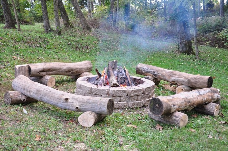 Fire pit with primitive log benches.