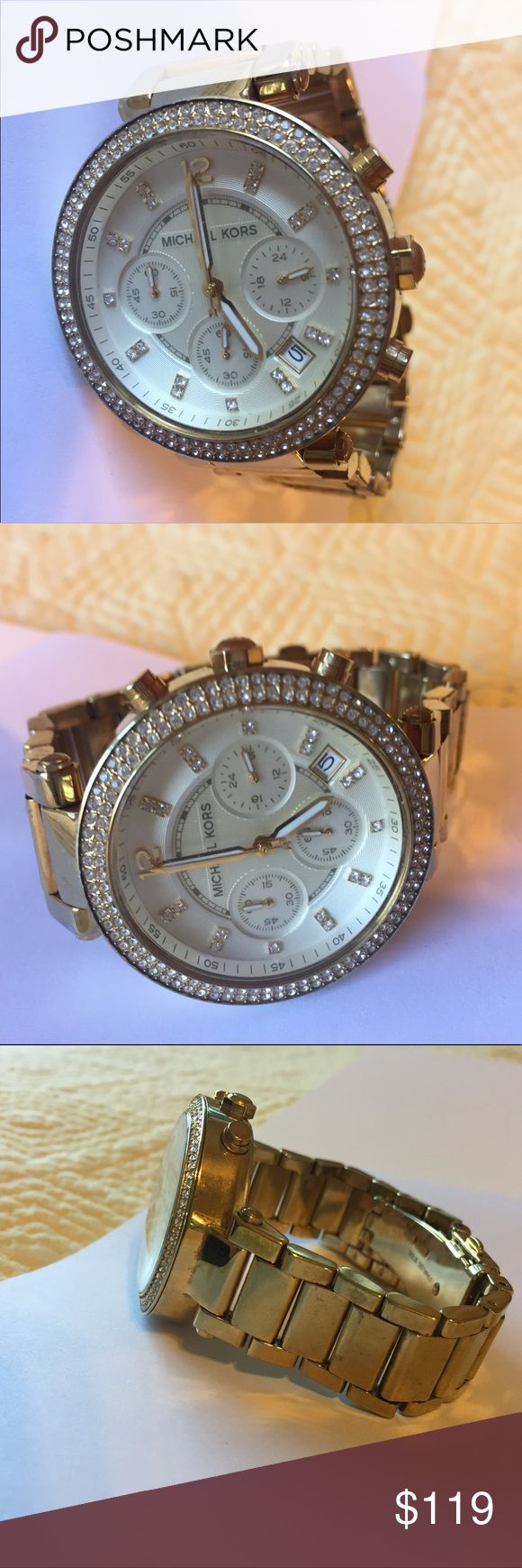 Authentic Michael Kors Gold Watch MK Gold watch used but still looks great on. Some wear in photos. Shows some sparkle while still a classy staple gold watch. Just needs battery. Michael Kors Jewelry