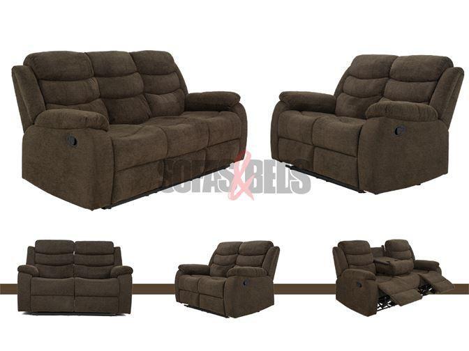 Soro 3 2 Brown Soft Fabric Recliner, Brown Fabric Recliner Sofa 3 2