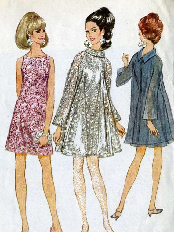 Vintage Mod 60s McCalls 8992 CUT Misses Evening Cocktail Dress, Slip and Overdress Sewing Pattern    Size 12 Bust 32  Size 16 Bust 36    Pattern