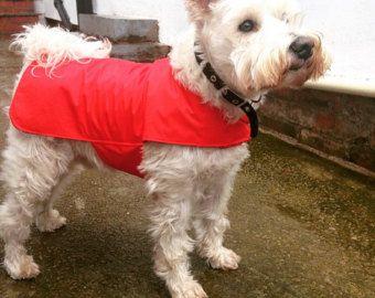 Capa impermeable perro - ligero - guarnición del algodón - perro rojo capa - encargo - impermeable perro - máquina lavable material de la chaqueta