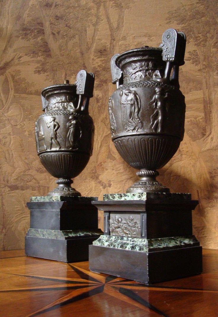 Vintage  Krater Vasen Urne Bronze Klassizismus Lampen Beisteller Relief Etrusker R mer Antiquit ten u Kunst