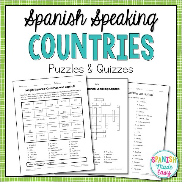 This is a magic squares puzzle, crossword puzzle, matching quiz and spelling quiz over the 21 Spanish-speaking countries and capitals.