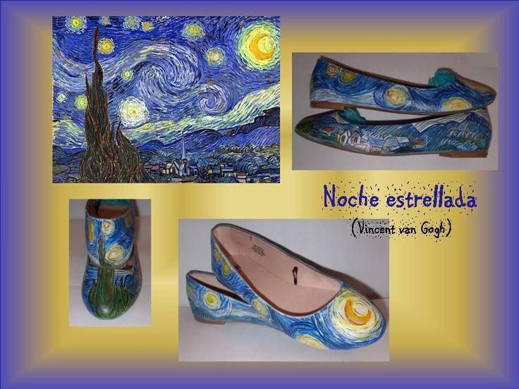 Manoletinas pintadas a mano con la Noche estrellada (versión)