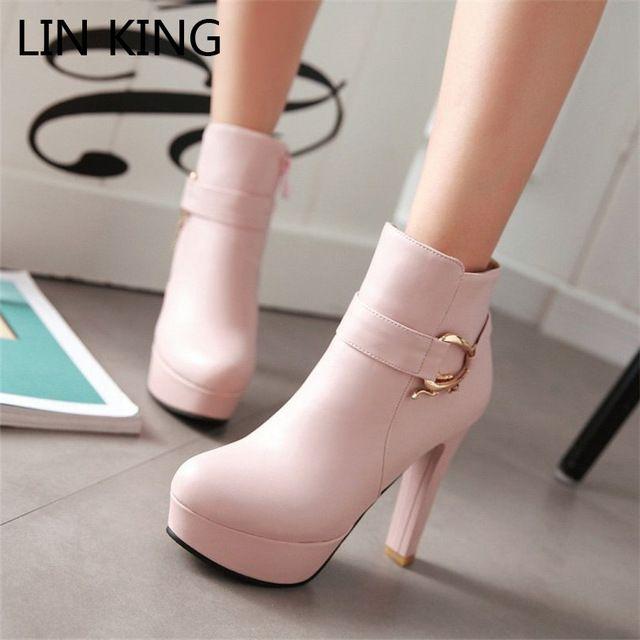 LIN REY de Las Mujeres de Imitación de Cuero Cómodos Botines de Plataforma Botines de Tacón Alto para Mujer de la Hebilla Zapatos de Vestir de Invierno de gran tamaño