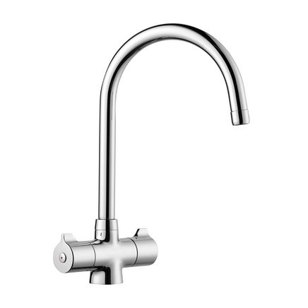 Lamona Chrome Rhone swan neck monobloc tap