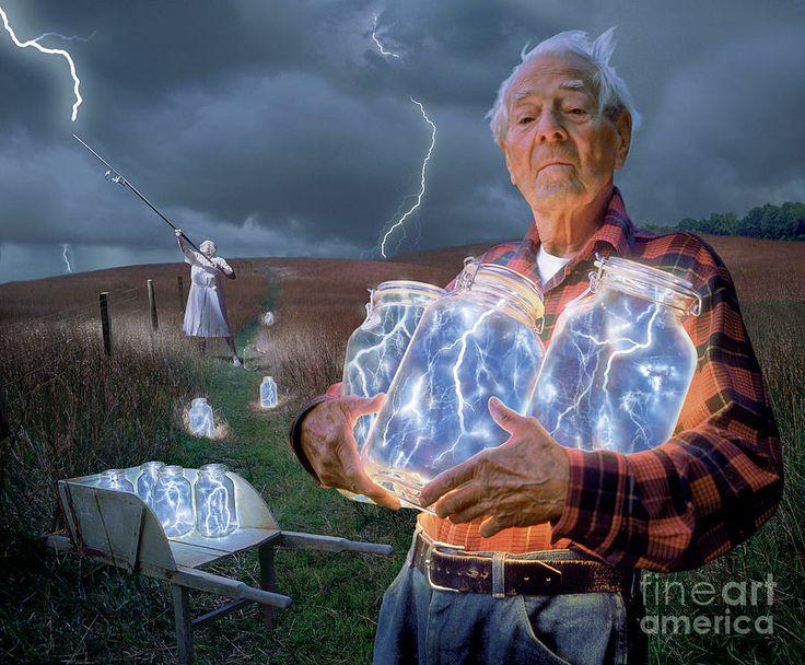 The Lightning Catchers by Bryan AllenLights, Bryans Allen, Catching Lighten, In A Jars, Art Prints, Lightning Catchers, Bangs, Lightning Art, Bottle