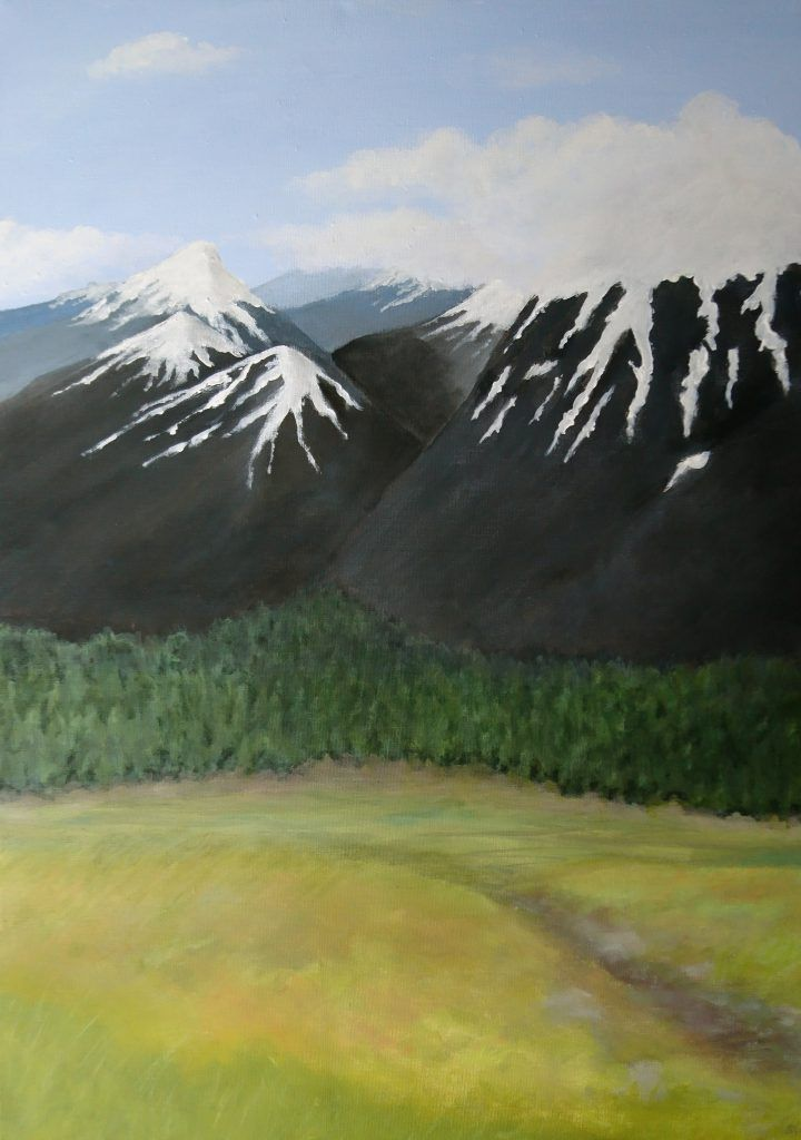 This acrylic landscape represents Jotunheim, one of the realms of Norse mythology where the Jotnar lived.