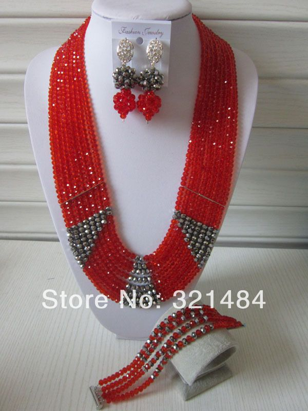 New Fashion Nigerian Wedding African Beads Jewelry Set 26'' Long Red Silver Crystal Necklace Bracelet and Earrings CRB-403 $68.94