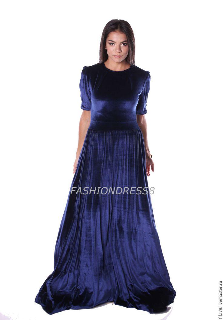 Купить Королевский Синий Бархатное Вечернее Платье - тёмно-синий, однотонный, бархатное платье