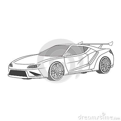 Illustration of concept car with spoiler and custom rim