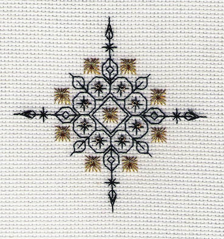 Snowflake Gold designed by Liz Almond of Blackwork Journey